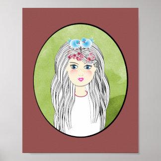 Sweet Whimsical Girl and Birds Illustration Poster
