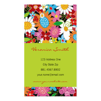 Sweet Whimsical Spring Flowers Colorful Garden Double-Sided Standard Business Cards (Pack Of 100)