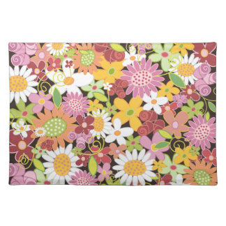 Sweet Whimsical Spring Flowers Garden Floral Cloth Place Mat