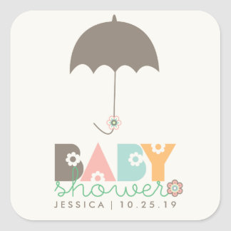 Sweet Whimsy Daisy Blooms Baby Shower Gift Tags Square Sticker