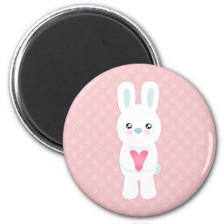 Sweet White Bunny 2 Inch Round Magnet