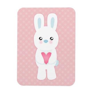 Sweet White Bunny Rectangular Photo Magnet