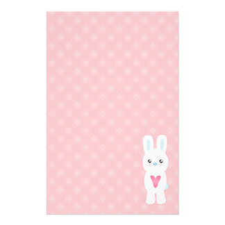 Sweet White Bunny Stationery Paper