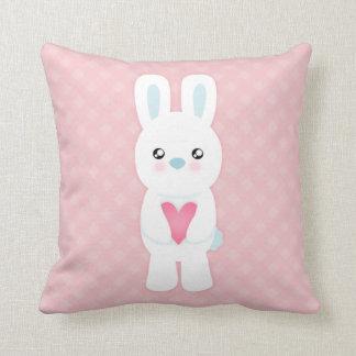 Sweet White Bunny Throw Pillow