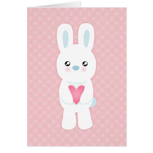 Sweet White Bunny Valentine Greeting Card