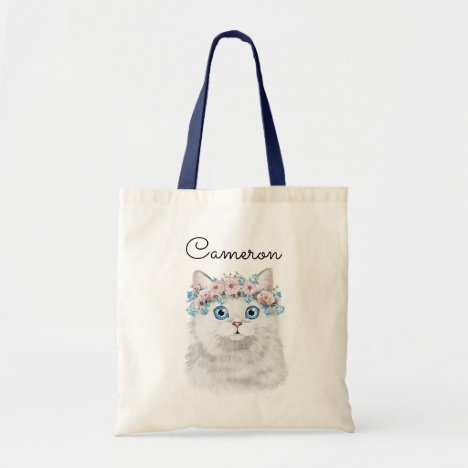 Sweet White Floral Cat | Add Your Name Tote Bag