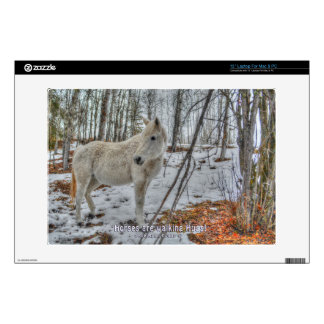 """Sweet White Mare and Winter Forest Gift 13"""" Laptop Decal"""