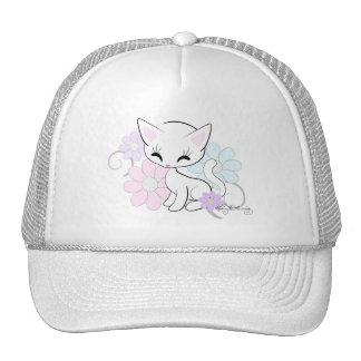 Sweet White Pastel Kitten With Flowers Trucker Hats