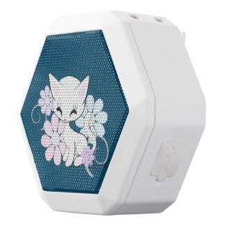 Sweet White Pastel Kitten With Flowers White Bluetooth Speaker