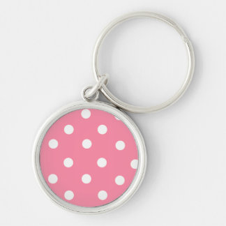 Sweet White Polka Dots on Pink Background Keychain