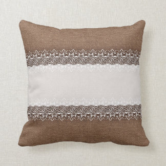 Sweet White Shabby Chic Lace on Rustic Burlap Throw Pillow