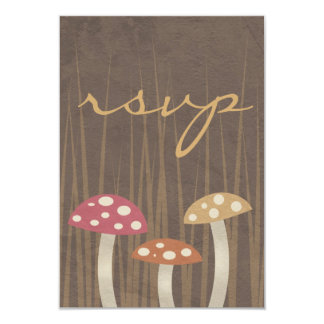 Sweet Wild Mushroom Wedding RSVP Reply Card