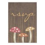 Sweet Wild Mushroom Wedding RSVP Reply Card Personalized Invitation