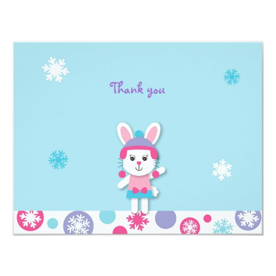 Sweet Winter Bunny Snowflake Thank You Note Cards