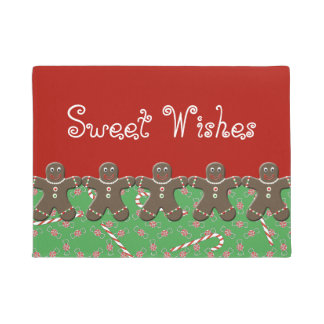 Sweet Wishes Custom Gingerbread Men Holiday Candy Doormat
