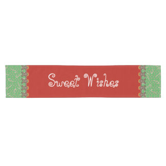 Sweet Wishes Red Green Holiday Gingerbread Cookies Short Table Runner