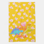 Sweet With Love Dinosaurs Hearts Pattern Hand Towel