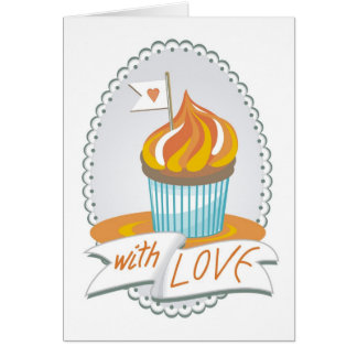 sweet 'with love' greeting card with a cupcake