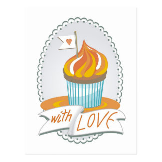 """sweet """"with love"""" greeting card with a cupcake"""
