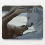 Sweet wolf couple mouse pad