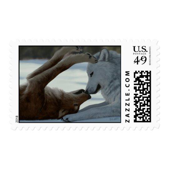 Sweet wolf couple postage