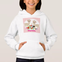 Sweet Woodland Animals And Flowers Personalized Hoodie