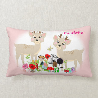 Sweet Woodland Animals And Flowers Personalized Lumbar Pillow
