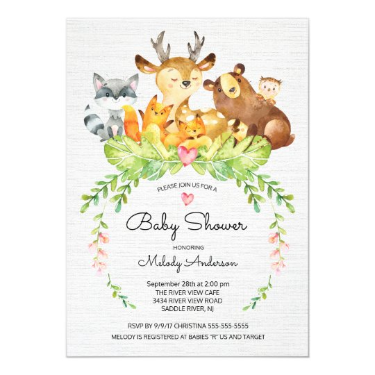 Wonderful Sweet Woodland Animals Baby Shower Invitation