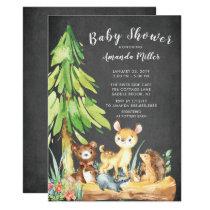 Sweet Woodland Animals Baby Shower Invitation