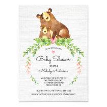 Sweet Woodland Bear Baby Shower Invitation