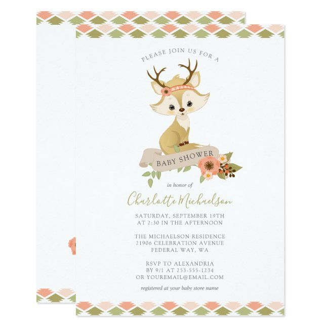 Sweet Woodland Boho Fox Baby Shower Invitation