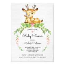 Sweet Woodland Deer Baby Shower Invitation