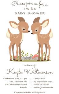 Twin baby shower invitations zazzle sweet woodland deer twin baby shower invitation filmwisefo