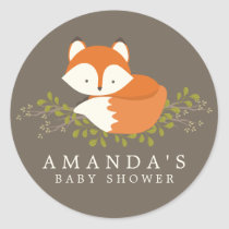 Sweet Woodland Fox Baby Shower Favor Seal