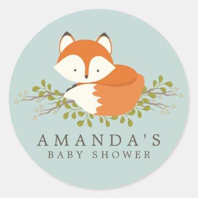 Nice Woodland Baby Shower Favor Tag Sticker Animals Fox | Zazzle.com