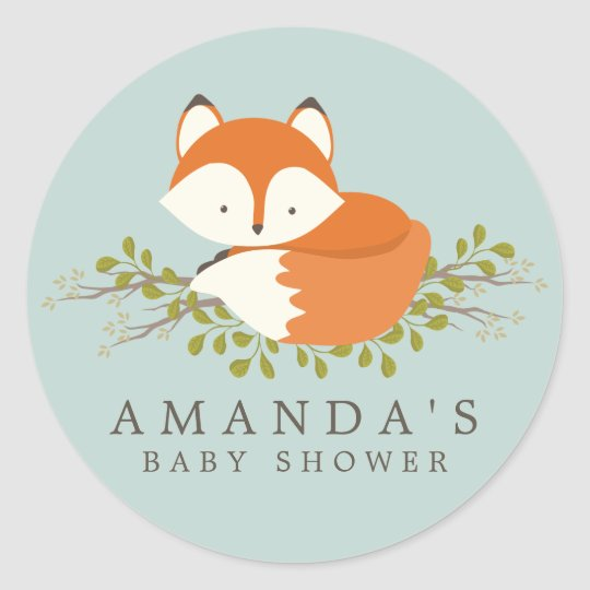 Sweet Woodland Fox Baby Shower Favor Seal | Zazzle.com