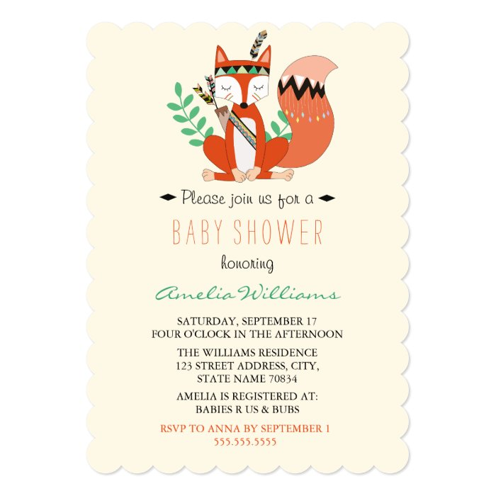 sweet woodland fox baby shower invitation – frenchkitten, Baby shower invitations