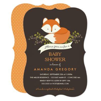 sweet woodland fox baby shower invitation | zazzle, Baby shower invitations