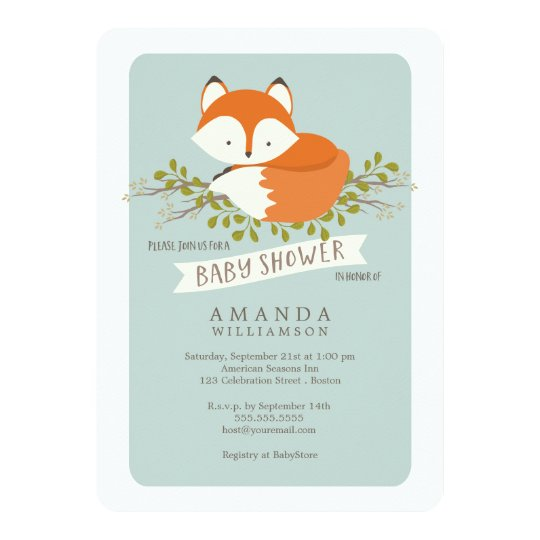 Sweet Woodland Fox Baby Shower Invitation | Zazzle.com