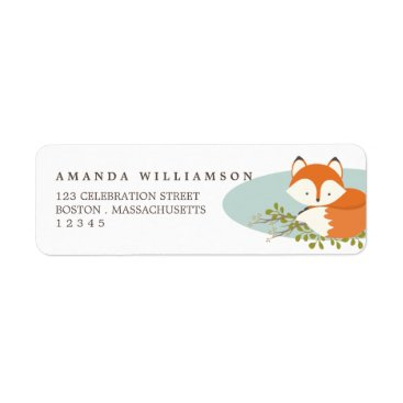 kat_parrella Sweet Woodland Fox Nature Address Label