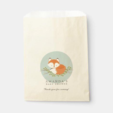 Sweet Woodland Fox Nature Baby Shower Favor Bag