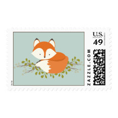 Sweet Woodland Fox Nature Baby Shower Stamp at Zazzle