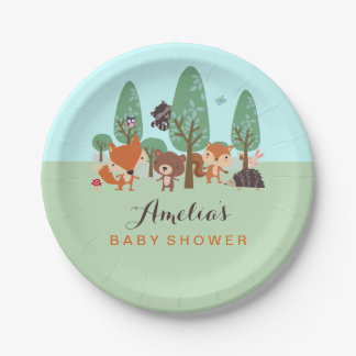 Sweet Woodland Friends Baby Shower Paper Plates