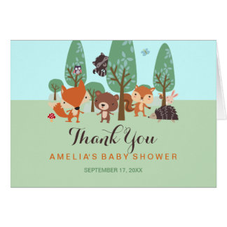Sweet Woodland Friends Baby Shower Thank You Card
