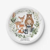 Sweet Woodland Greenery Baby Shower Birthday Paper Plate