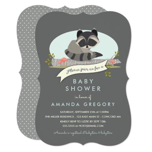 Sweet Woodland Raccoon Baby Shower Invitation