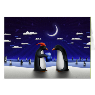 Sweet Xmas pinguin greeting card