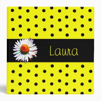 Sweet Yellow and Black Polka Dot Binder