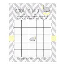 Sweet Yellow and Gray Elephant Baby Shower Bingo Flyer