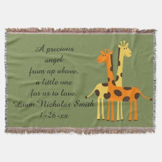 Sweet Yellow and Orange Giraffes New Baby Throw